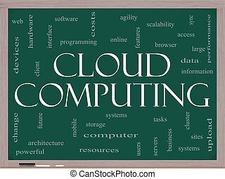 Cloud Computing Word Cloud Concept on a Blackboard with...