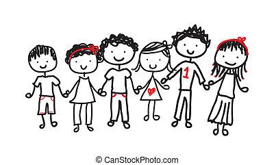 children isolated over white background vector illustration