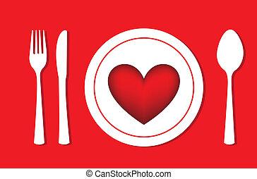 romantic dinner - heart over dish, romantic dinner. vector...