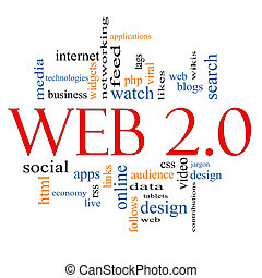 Web 20 Word Cloud Concept with great terms such as social,...