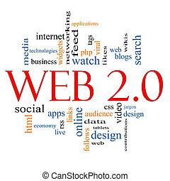 web, 2, 0, Wort, Wolke, begriff