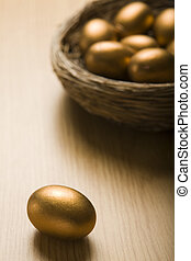 Golden Eggs In Nest - Nest Of Golden Eggs With Single Egg In...