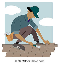 roofing worker - Cartoon roofing worker putting shingles on...
