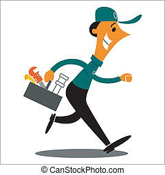 Plumber rushing to work with tools - Cartoon image of a...