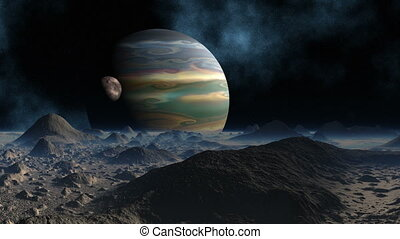 Huge planet and moon - The huge planet and the moon rotate...