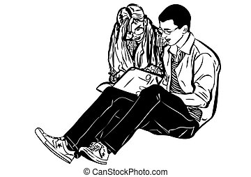 sketch a fellow and girl read book - a sketch a fellow and...