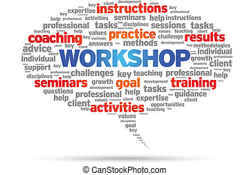 Workshop speech bubble illustration on white background.