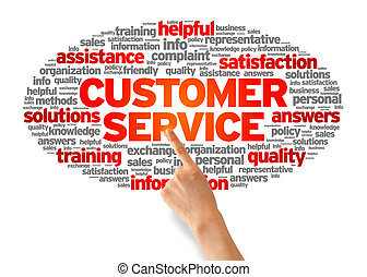 Customer Services - Hand pointing at a Customer Services...