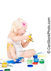 bedraggled little girl with bright colors - Bedraggled...