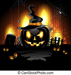 Halloween pumpkin - Halloween background with cemetery and...