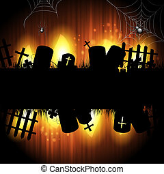 Halloween cemetery - Halloween background with cemetery