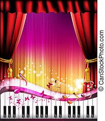 鑰匙, 帘子, 鋼琴, 紅色