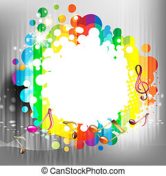 Musical notes with colored abstract background