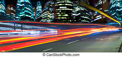 Light of a night city - Night high-speed highway with shone...