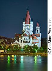 church and Danube river in Vienna - Heiliger Franz von...