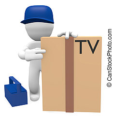 Technician deliver a new television, 3d image