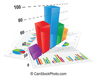 3D Bar Chart, vector file.