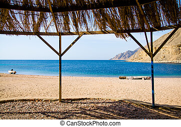 on the beach - view from tourist shanty on the beach of Red...