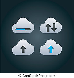Cloud computing concept with arrows