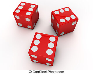 3 red dices showing the six