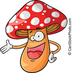 cartoon mushroom - happy cartoon mushroom over white...