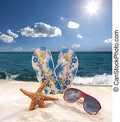 Starfish, sunglasses and flip flops on the beach