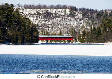 Covered Bridge - red covered bridge over a lake and forest