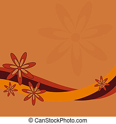 Retro Flower Design - Graphic illustration of retro flowers...