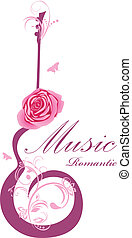 Abstract guitar with rose. Romantic music. Vector...