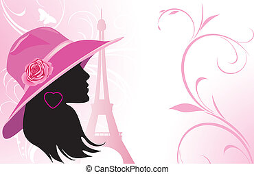 Elegant woman in a hat on the background of Eiffel tower...