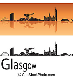 Glasgow skyline in orange background in editable vector file