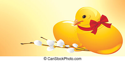 Easter chick and willow branch. Festive banner. Vector...