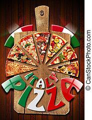italia, pizza, vecchio, taglio, asse