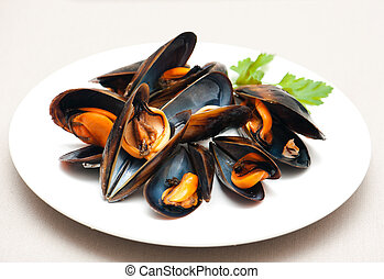 Mussels on a plate