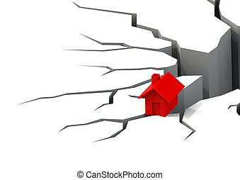 Falling real estate - Rendered artwork with white background