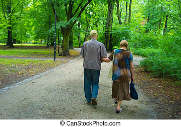 Senior couple in the park - Senior couple in the public park...
