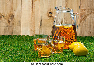 Iced Lemon Ice Tea in a summer setting
