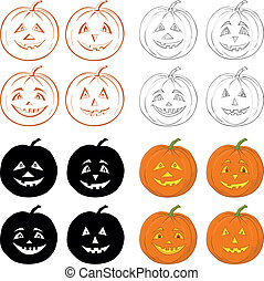 Halloween pumpkins Jack O Lantern, set - Symbol of the...