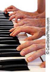 Six hands on grand piano - Six hands playing simultaneously...