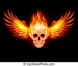 Flaming Skull with Fire Wings Illustration on black