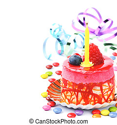 Colorful birthday cake isolated over white
