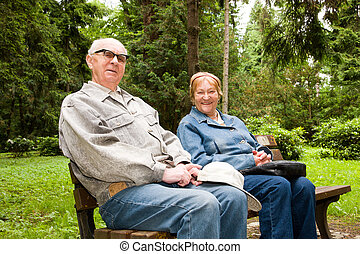 Happy senior couple in the park