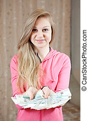 casual girl with many money - happy casual girl with many...