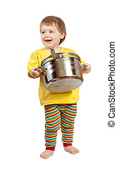 Baby cook with  pan