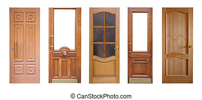 Set of wooden doors. Isolated over white - Set of wooden...