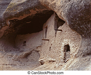 Gila Cliff Dwellings - Cliff Dwellings nestled into side of...