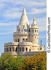 detail of the Fishermans Bastion in Budapest