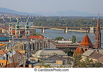 City view of the Budapest buildings and Danube river Hungary...