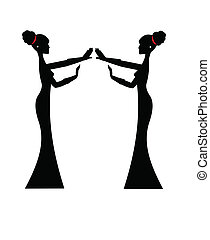 singers in silhouette - two singers in silhouette over white...