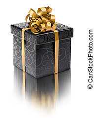 Stylish black present box with goldenribbon bow